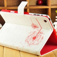 niceEshop Lovely Dandelion Stand Case Shell Protector for Apple Ipad Mini (White Background Red Flower)
