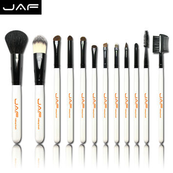 Free Shipping 12PCS Makeup Brush Set  Professional with Black Leather Case Cosmetic Brushes Tools (J1201P)