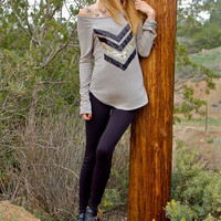 Sequin Chevron Slouchy French Terry Pullover in Sand