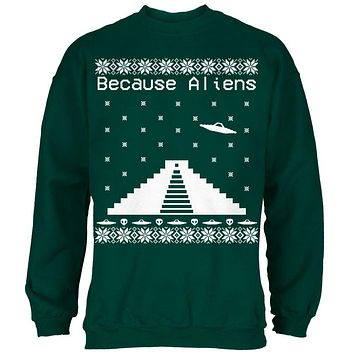 Because Aliens Pyramid Ugly XMAS Sweater Forest Adult Sweatshirt