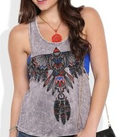 Mineral Wash Tank Top with Aztec Eagle Screen