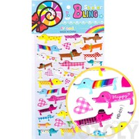 Funky Patterned Dachshund Puppy Dog Shaped Animal Jelly Stickers for Scrapbooking and Decorating