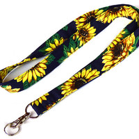Sunflowers Lanyard. Key Lanyard. Flowers Fabric Lanyard. ID Holder. Fashion Accessories