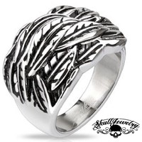 """Windy Feathers"" Stainless Steel Ring (387)"