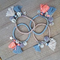 Boho Fashion Bracelet with Cowrie Shell and Tassels-In Stock