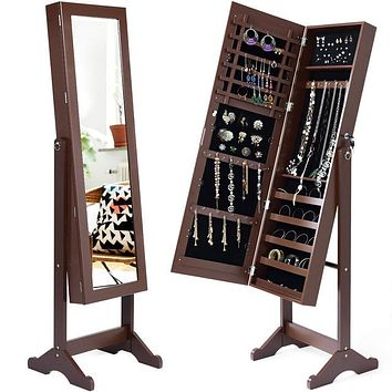 Lockable Mirrored Jewelry Cabinet Armoire