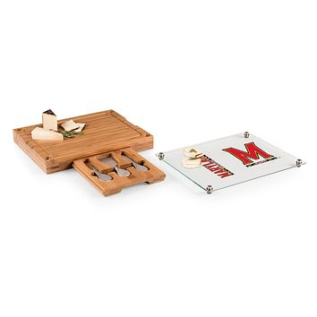 Maryland Terrapins - Concerto Glass Top Cheese Cutting Board & Tools Set, (Bamboo)