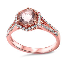 1.69tcw Round Morganite & Diamonds in 14K Rose Gold Hexagon Halo Engagement Ring