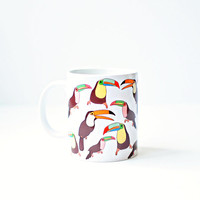 Toucan mug - white colorful tropical rain forest toucan black red yellow green gift