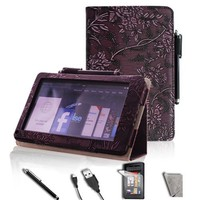 FINTIE PU Leather Folio Case Cover Value Package with Free Screen Protector/Stylus/USB cable for Amazon Kindle Fire-Purple Embossed Flower
