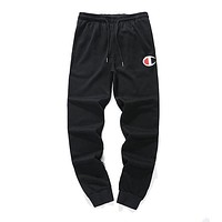 Champion autumn and winter new cotton men and women casual pants sweatpants black