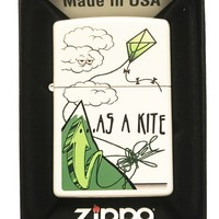 "Zippo Custom Weed Marijuana Pot Leaf Lighter - ""High As A Kite"" White Matte"