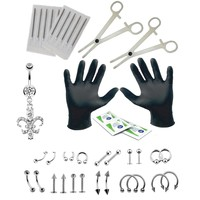 BodyJ4You Body Piercing Kit 16G 14G Heart CZ Belly Ring Tongue Tragus Nipple 35 Pieces