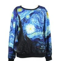 LoveLiness Womens Van Gogh Starry Night Print Pullover Sweatshirt Sweaters