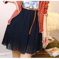 Sexy Women Girls Retro Pleated Mini Skirts Chiffon Waist Short Dress&Belt O
