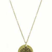 NECKLACE / TREE OF LIFE / METAL PENDANT / AGED FINISH / LINK / CHAIN / 16 INCH LONG / 1 INCH DROP / NICKEL AND LEAD COMPLIANT