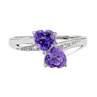 Amethyst Double Heart and Diamond Sterling Silver Birthstone Ring
