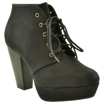 Womens Ankle Boots Lace Up Chunky Heel Faux Leather Platform Shoes black