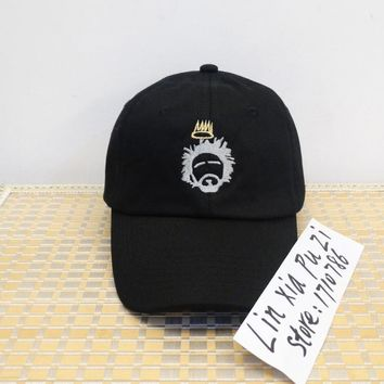Custom Unstructured Black and white Dad Hat Cap J Cole TDE New Born Sinner Crown Baseball Cap Curved Bill
