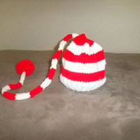 Handmade Christmas  Elf Hat- red and white-new born hat