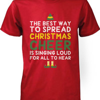 Men's Graphic Tees - Best Way to Spread Christmas Cheer Red Cotton T-shirt