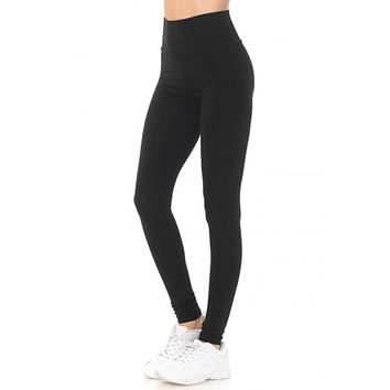 Cotton Jersey Knit High Waisted Fold Over Full Length Yoga Legging Pants