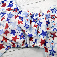 Red, White and Blue Stars (two-toned snaps- Royal caps/Light Blue pieces) Printed PUL Traditional, OS Pocket DiaperInstock and ready to ship