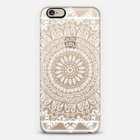 BOHEMIAN FLOWER MANDALA IN WHITE - CRYSTAL CLEAR PHONE CASE iPhone 6 case by Nika Martinez | Casetify