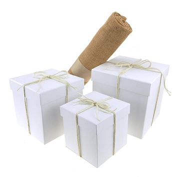 Tree Skirt Bundle with White Square Nested Gift Box, 5-Piece Set