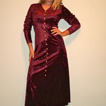 90s Gothic Red Crushed Velvet Long Dress, Button Corset Back Oxblood Long Sleeve Gown, Retro Prom Dress