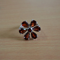 Classic Design Ring Garnet Gemstone in Silver Jewelry, Gift, Holiday,Handmade jewelry, Free Shipping