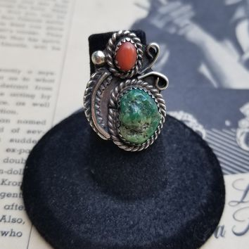 Navajo natural rough turquoise and red coral Native American vintage ring size 5