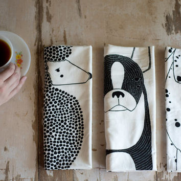 Pre Order: Tea Towel Bundle, 3 Dog Tea Towels, Printed with Eco Friendly Inks