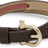 Sperry Top-Sider Leather Skip Lace Wrap Bracelet Brown, Size One Size  Women's