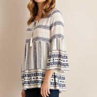Trumpet Sleeve Baby Doll Top - Ivory/Navy