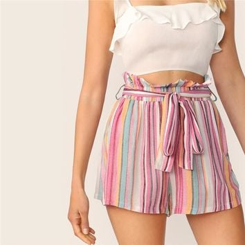 Multicolor Striped Paperbag Waist Slant Pocket Belted Shorts Frilled High Waist Shorts Women Casual Boho Cute Shorts