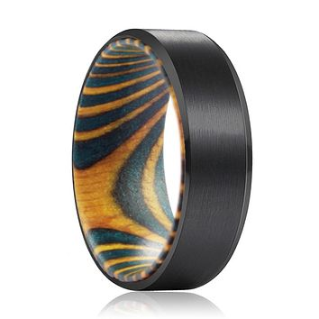 DAMON Tungsten Black Beveled with Green and Yellow Box Elder Inside Wood Ring