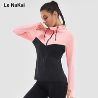 2017 Winter Women Long Sleeve Hoodies Jackets Contrast Color Thumb Hole Thick Sports Clothing Fitness Yoga Top Workout Clothes