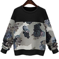 Black Round Neck Floral Loose Knitted Sweatshirt
