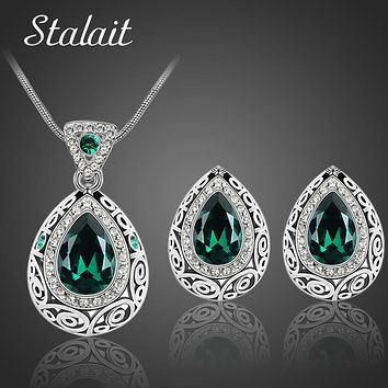 Bridal Wedding Jewelry Sets Classic Indian Antique Silver Color Water Drop Crystal Rhinestone Earrings Necklaces jewelery Set