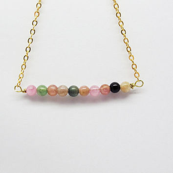 Neckla-Tourmaline Beads Necklace / Brass O shape Chain 2 colors available