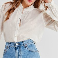 UO Madelyn Ruffle Collar Button-Down Top | Urban Outfitters