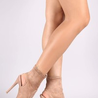 Qupid Woven Suede Peep Toe Stiletto Booties