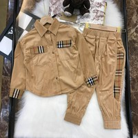 Burberry Girls Clothing Sets Autumn Fashion Style Kids Clothes Design Sweatshirts Pants 2Pcs for   Children Clothes