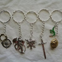 Game Of Thrones Inspired Key Ring Chain Holder Choice of: Hatching Dragon, Mother of Dragons, Sword, Stark's Winter Wolf or Crown & Compass