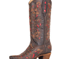 Corral Women's Chocolate Floral Red Inlay Boots - A1951