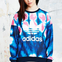 Adidas Originals Tie-Dye Trefoil Sweatshirt in Blue - Urban Outfitters