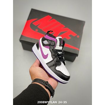 Nike Air Jordan Brand 1 AJ1 Child Girls Boys shoes Children boots Baby Toddler Kids Child Fashion Casual Sneakers Sport Shoes