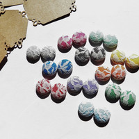 2 for $10 - Lace Fabric Button Earrings - Hypoallergenic Post - Sensitive Ears - Set of Two