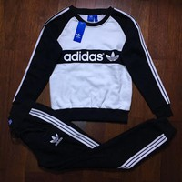 Adidas Top Pullover Sweatshirt Pants Trousers Set Two-Piece